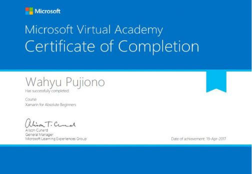 Xamarin for Absolute Beginners Certificate